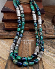 Schaef Designs Azurite Malachite & Sterling Silver Southwestern Basics Tube Bead Necklaces | New Mexico