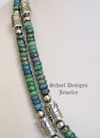 Schaef Designs Azurite & sterling silver Southwestern basics tube bead Necklace | New Mexico