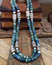 Schaef Designs Azurite & Sterling Silver Tube Bead Necklaces | New Mexico