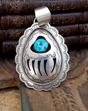 Huge Sterling Silver 3d & turquoise cut out bear paw pendant | Schaef Designs southwestern turquoise jewelry | New Mexico