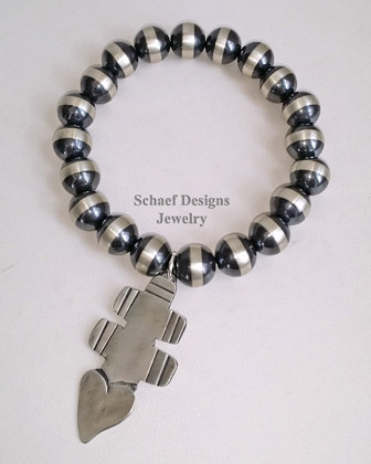 Schaef Designs Stamped Sterling bench bead bracelet with Vince Platero cross charm | New Mexico