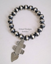 Schaef Designs Sterling Silver Stamped Bench Bead Vince Platero Charm Bracelet | New Mexico