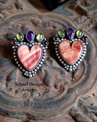 Many Stones Tigereye Black Onyx Heart Earrings  | Native American Indian |Schaef Designs Southwestern Jewelry | New Mexico