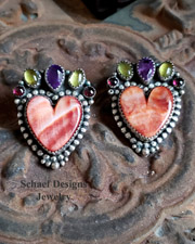 Bernyse Chavez artist signed Orange Spiny Oyster shell hearts with gemstone post earrings | Schaef Designs | New Mexico