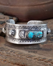 Schaef Designs Bisbee Turquoise Sterling Silver Southwestern Cuff Stacking Bracelet | New Mexico