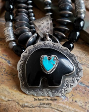 Schaef Designs Black Onyx Bear & Stamped Sterling Silver Pendant | New Mexico