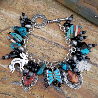 Schaef Designs Black Onyx & Sterling Silver Charm Bracelet | Schaef Designs Southwestern & turquoise Jewelry | New Mexico