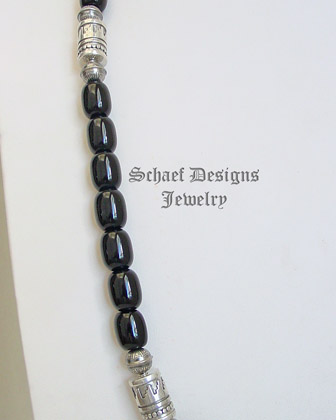 Schaef Designs black onyx & Sterling Silver long tube bead necklace | New Mexico