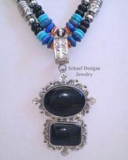 Schaef Designs Black Onyx & Sterling Silver Southwestern Pendant | New Mexico