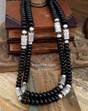 Schaef Designs black onyx & Sterling Silver Southwestern Basics Tube Bead Necklace | New Mexico