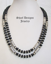 Schaef Designs Black Onyx Bone & Sterling Silver Tube Bead Necklace Set | New Mexico