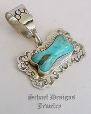 Schaef Designs Turquoise with black & sterling silver dog bone dog tag pendant | New Mexico