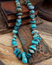 Schaef Designs Large Blue Green Kingman Turquoise Nugget & Sterling Silver Necklace | New Mexico