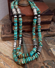 Schaef Designs Blue Green Turqouise & Sterling Silver Tube Bead Necklace Set | New Mexico