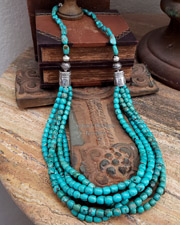 Schaef Designs Hubei Blue Turquoise Long Multi Strand Necklace | New Mexico