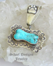 Schaef Designs Southwestern Blue Turquoise & Stamped Sterling Silver Dog Bone Dog Tag Pendant | New Mexico