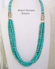 Schaef Designs Long Multi Strand Blue Hubei Turquoise Southwestern Necklace| New Mexico