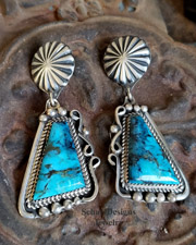 Native American Blue Turquoise & Sterling Silver Artist Signed POST Earrings