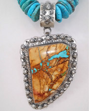 Schaef Designs LARGE Boulder Ribbon Turquoise & Sterling Silver Pendant | New Mexico