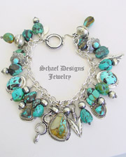 Schaef Designs Boulder Turquoise, Carico Lake Turquoise & Sterling Silver Southwestern Charm Bracelet | New Mexico