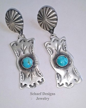 Schaef Designs Southwestern Handstamped Sterling Silver & Turquoise Bow Tie POST Earrings | New Mexico