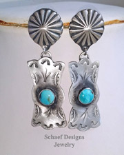Schaef Designs Bow Tie Turquoise Sterling Silver Southwestern POST Earrings | New Mexico