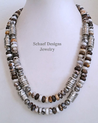 Schaef Designs brioche jasper & sterling silver Southwestern basics tube bead Necklace | New Mexico