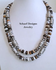 Schaef Designs Brioche Jasper & Sterling Silver Tube Bead Necklace Set | New Mexico