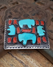 C Chamas artist signed Turquoise buffalo bison and red coral on sterling silver large unisex belt buckle | Schaef Designs | New Mexico