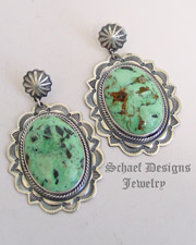 Darryl Cadman Turquoise & Sterling Silver Large Oval & Rosette POST Earrings | Upscale online Southwestern Native American turquoise Jewelry | New Mexico