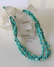 Schaef Designs  Campitos turquoise 3-strand adjustable necklace great for | New Mexico
