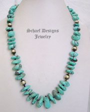 Schaef Designs Light Blue Campitos Turquoise Nuggets & Sterling Silver Necklace | New Mexico