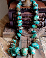 Schaef Designs Campo Frio Green Turquoise Nuggets & Sterling Silver Necklace | New Mexico