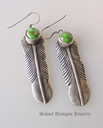 Green Carico Lake & sterling silver native american artist signed feather earrings | Schaef Designs artisan handcrafted Southwestern, Native American & Equine Jewelry | Online upscale southwestern equine jewelry boutique gallery | New Mexico