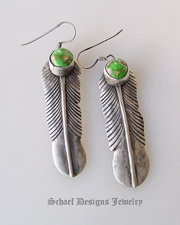 Green Carico Lake & sterling silver feather earrings | Schaef Designs| New Mexico