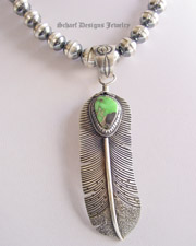 Green Carico Lake & sterling silver native american artist signed feather pendant | Schaef Designs artisan handcrafted Southwestern, Native American & Equine Jewelry | Online upscale southwestern equine jewelry boutique gallery |New Mexico