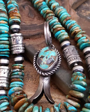 Schaef Designs Carico Lake Turquoise & Sterling Silver Squash Blossom Pendant | New Mexico