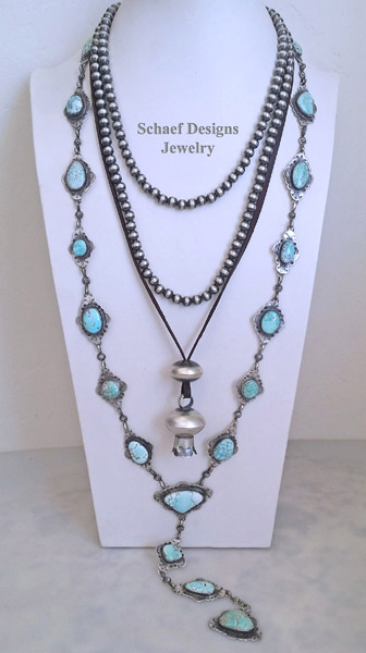 Schaef Designs Carico Lake Turquoise & Sterling Silver Southwestern Necklaces pairing | New Mexico
