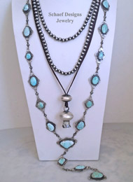 Schaef Designs Carico Lake Turquoise & Sterling Silver Necklace Pairings & Large Squash Blossom Pendant | New Mexico