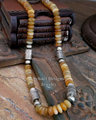 Schaef Designs Golden Carnelian & sterling silver Southwestern basics tube bead Necklace | New Mexico