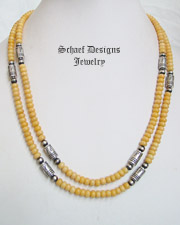Schaef Designs Chamois Jade & Sterling Silver Tube Bead Necklaces | New Mexico
