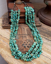 Charlene Nez 4 strand green turquoise & pen shell Native American necklace | Schaef Designs | New Mexico