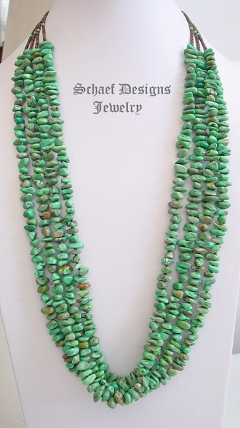 Charlene Nez 4 strand green turquoise & pen shell Native American necklace | Southwestern Jewelry Basics Collection | Native American Jewelry  | online upscale native american & southwestern jewelry boutique gallery| Schaef Designs Southwestern turquoise Jewelry | New Mexico