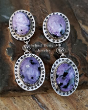 Schaef Designs Charorite & Sterling Silver Dangle POST Earrings| New Mexico