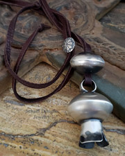 LARGE Sterling Silver Squash Blossom Navajo Pearl & Brown Leather Long Necklace | New Mexico