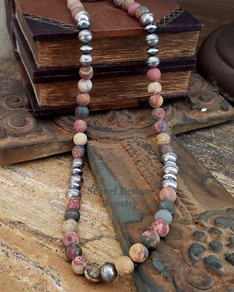 Schaef Designs Southwestern Basics Matte Cherry Creek Jasper & Navajo Pearl Necklace Set | Arizona