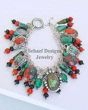 Schaef Designs Chrysocolla Apple Coral Onyx & Sterling Silver Southwestern Charm Bracelet | New Mexico