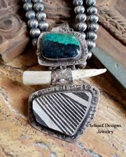 Schaef Designs Chrysocolla Pottery Shard Antler & Sterling Silver Pendant| New Mexico