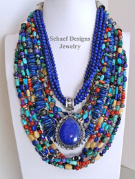 Schaef Designs Cobalt Lapis, Multi Colored Stone Necklace Pairings with Lapis Pendant | New Mexico