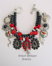 Schaef Designs Red Coral Black Onyx & Sterling Silver Cardinal Squash Blossom Charm Bracelet | Schaef Designs Southwestern & turquoise Jewelry | New Mexico